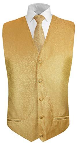 Paul Malone Hochzeitsweste + Krawatte Gold barock - Bräutigam Hochzeit Herren Weste Gr. 46/48 XS