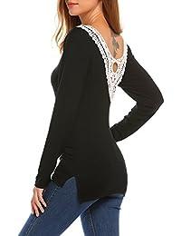 ccc114bf3de6 Beyove Damen Lange Ärmel Shirt Casual Sweatshirt Stricken V-Ausschnitt  Pullover Hemd Bluse Oberteil Mit Spitze…