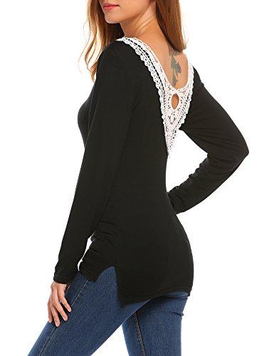 Beyove Damen Langarmshirt Asymmetrisch Sweatshirt Pullover Hemd Bluse Oberteil mit Spitze Schwarz
