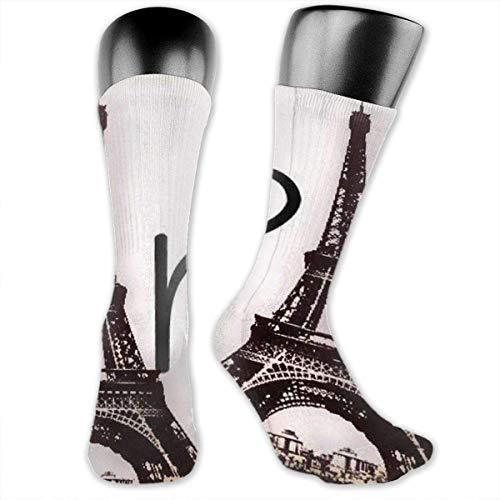 YudoHong Eiffel Tower Love Paris Unisex Casual Crew Socks Daily Sports Socks Grey Socks (Schneiden Eiffel Tower)