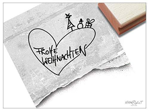 Stempel Weihnachtsstempel FROHE WEIHNACHTEN handschriftlich mit Herz - Textstempel Karten Geschenkanhänger Geschenk Weihnachtsdeko - zAcheR-fineT