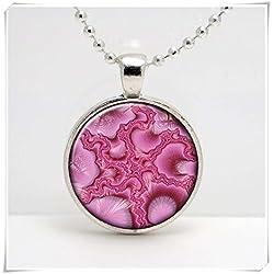 Colgante de cristal con diseño abstracto de color rosa fractal y hecho a mano