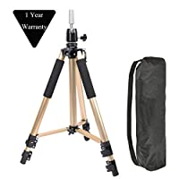 Adjustable Aluminium Alloy Tripod Stand Holder Training Head Hairdressing Mannequin Manikin Canvas Block Head Wig Stand Salon Hair Clamp With Carrying Bag Gold