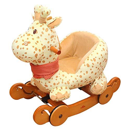 ZLMI Kind schaukelpferd Spielzeug, dual-use gelbe Giraffe Rocker mit Rad für Kind 6-36 Monate, Holz schaukelpferd/Kuscheltier/Baby schaukelpferd/Kind schaukelpferd - Giraffe 36 Kuscheltier