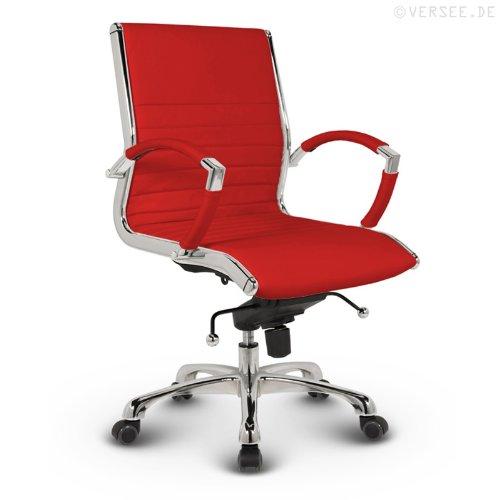 Versee Leder Design Drehstuhl Bürostuhl Montreal Low Back rot
