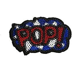 Toppe termoadesive - POP! Comic bambini con paillettes - blu/rosso - 7,1x4,9cm - Patch Toppa ricamate Applicazioni Ricamata da cucire adesive