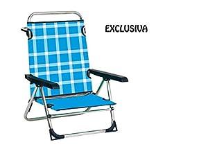 Alco- Silla Cama Playa Aluminio FIBRELINE Pata Plegable Azul Cuadros Color 1856, Multicolor (606ALF-1856)