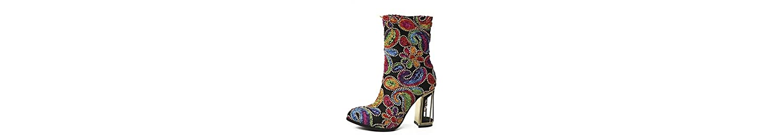 RTRY Zapatos De Mujer Invierno Cuero Novedad Moda Botas Botas Chunky Talón Puntera Redonda Mid-Calf Botas Para... -