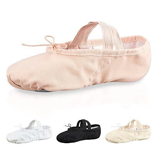 tanzmuster Ballettschuhe / Ballettschläppchen aus Leinen, geteilte Ledersohle, für Kinder und Erwachsene in weiß, rosa-apricot, schwarz und sandfarben, in den Größen 22-45. rosa-apricot