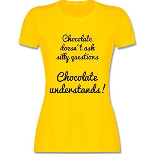 Küche - Chocolate understands! - tailliertes Premium T-Shirt mit Rundhalsausschnitt für Damen Gelb