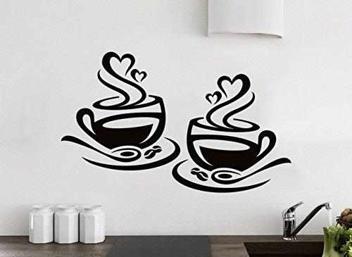 Küchen-Aufkleber Wandaufkleber 2 Tassen Kaffee Liebe Küche Wand Tee Aufkleber Vinyl Aufkleber Kunst Restaurant Pub Dekor (Kaffee-tassen-küche)