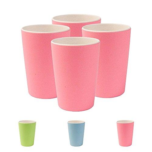 Nachhaltige Bunte Trinkbecher aus Bambus von Kaufdichgrün, spülmaschinenfest, BPA frei I Picknickgeschirr Kinderbecher I 4 Stück Bambus Becher Kinder natur weiß / rosa 300 ml