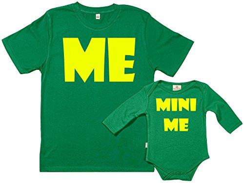 SR - Exklusive Geschenkbox - Me & Mini Me 100% Biobaumwolle - Set zur Geburt Vater und Baby in Geschenkbox - M, Newborn - Grün