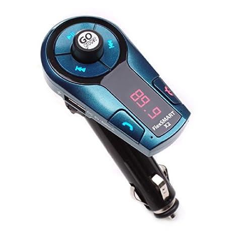GOgroove Mini Transmetteur FM Bluetooth Kit Mains-libres Sans Fil Voiture, Charge USB et Contrôle de Musique intégré - Pour Smartphones / Tablettes