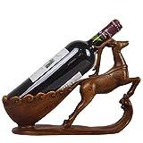 DIVAND Cremagliera del Vino, Artigianato della Resina, Scultura Creativa degli alci di Figura del Vino Rack, Decorazione Domestica