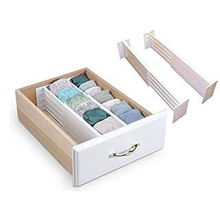 LIVIVO ® Set of 2 White Spring Loaded Expandable Drawer Dividers for Kitchen Bedroom Storage Organisation