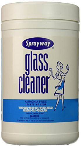 Glass Cleaner Wipes (10 x 12, 40 wipes) by Sprayway - Sprayway Glass Cleaner
