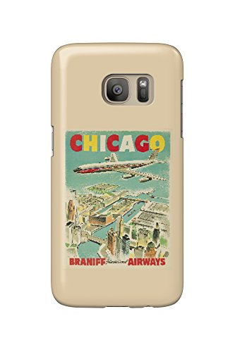 Braniff International Airways - Chicago Vintage Poster c. 1950 (Galaxy S7 Cell Phone Case, Slim Barely There)