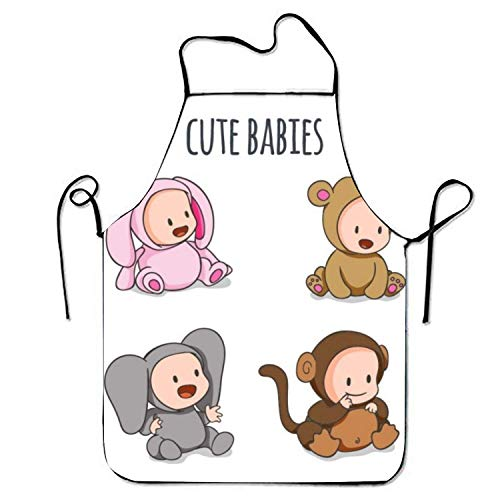 tgyew 2019 Apron Hand Drawn Babies Lovely Animal Customes Adjustable Cooking Apron for ()