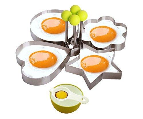 Anzhao Moule œuf au plat anneaux Pancake, Premium Bague en acier inoxydable Egg Shaper avec séparateur d'œuf, Outils de cuisine pour famille (Lot de 4)