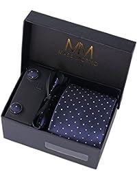 MASSI Morino Hombre Designer corbata – caja conjunto con pañuelo, gemelos y aguja de corbata, ropa y accesorios de hombre (Azul oscuro punteado)