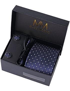 MASSI MORINO Uomo Designer Cravatta - Box Set con fazzoletto, Gemelli e Fermacravatta X cucita a mano in microfibra...