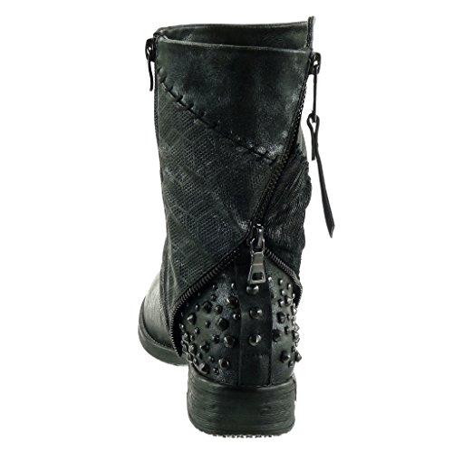 Angkorly - damen Schuhe Stiefeletten - Biker - Reitstiefel - Kavalier - Nieten - besetzt - Geflochten - Reißverschluss Blockabsatz 3 CM Schwarz