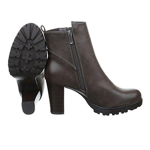 Schuhe Grau Schlupfstiefel Heels Klassische Pump Braun High Stiefeletten Damen Reißverschluss ZqpnBHddT