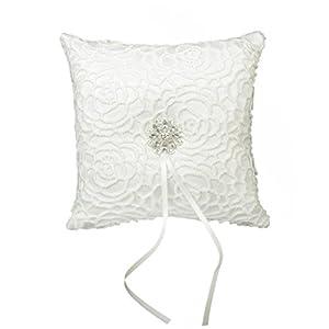 Stonges Ehering Kissen Kissenträger Satin Strass Blume 15 x 15cm Elfenbein