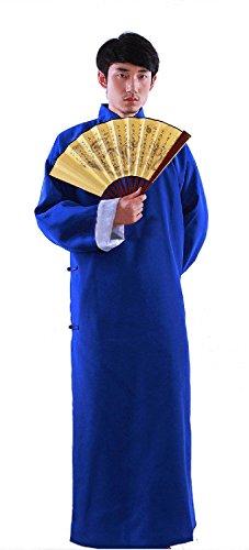 Handgefertigt Chinesische Herren Alte Mandarin Robe Langes Kleid Ip Man Kostüm Bühne Kleid (XL, Blau)