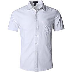 SOOPO Camisa Hombre Manga Corta Camisa Unicolor Estampada Camisa de Vestir Camiseta Casual, Blanco, XXXL