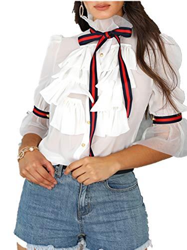 Boutiquefeel Damen Tied Neck Lace Langarm Frills Chiffon Bluse Shirts (M, Y-Weiß) Lace Halter Neck Top