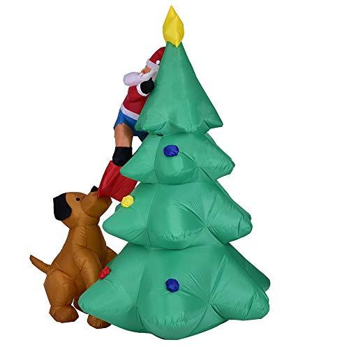 Fulltime E-Gadget LED Lichter Yard Decor,Aufblasbare Weihnachtsmann Klettern Weihnachtsbaum Chased DogWeihnachtsgeschenk für Kinder (Multicolor)