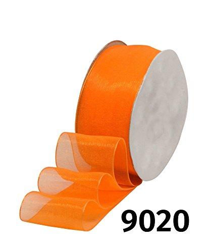 32m Rolle Organzaband Chiffonband Schleife Dekoband Band Geschenkband Deko Schleifenband Tischband • 6 Breiten und 28 Farben zur Auswahl (9020 / Orange, Breite 25mm)