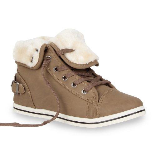 Warme Damen Sneakers Kunstpelz Sportschuhe Gefüttert Khaki