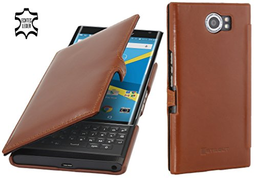 StilGut Book Type Case mit Clip, Hülle aus Leder mit On-/Off-Funktion für BlackBerry PRIV, Cognac