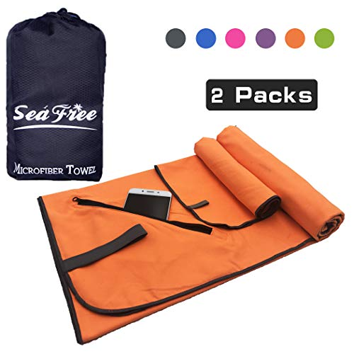 Asciugamano da Spiaggia Set 2 Pezzi  80x160cm + 39x39cm Teli Mare in Microfibra,...
