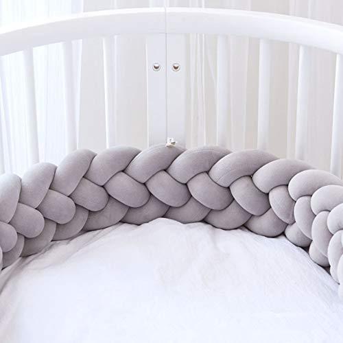 Rolle Geflochtene Stoßstange Krippe Anti-Kollision Twist Baumwollkissen Anti-Allergie-Kindergarten Baby Nest Cot Protector Bed Roll (Grau) ()