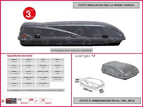 Proposteonline portabagagli Box Tetto Auto 129 x 89 x 39 cm per Smart forfour 2014 > con Barre Portapacchi portatutto ac90qq