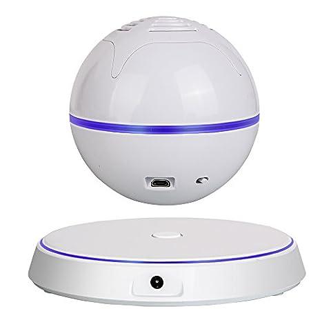 Milool Schweben drahtlose Bluetooth 4.0 Lautsprecher Levitating Bluetooth Wireless Speaker für Smartphones, Tablets, Laptops, PC und alle Bluetooth-Geräte mit Subwoofer 360 Grad drehbaren(weiß)