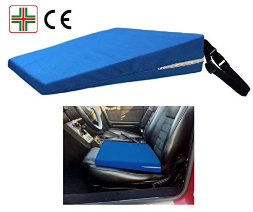 Cuscino a cuneo -blu- rialzo per sedile auto, supporto lombare, cuneiforme ergonomico ortopedico, correttore postura schiena per macchina