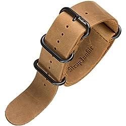 Echtes Leder Militär ZULU Uhrenarmband, Schwarz PVD Schnalle, Kamel Braun, 24mm