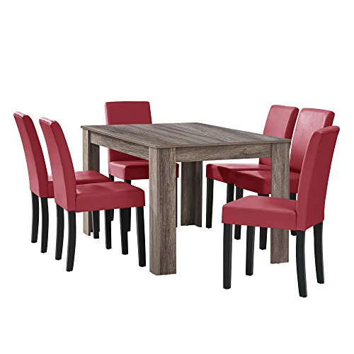 [en.casa] Esstisch Eiche antik mit 6 Stühlen dunkelrot Kunstleder Gepolstert 140x90 Essgruppe Esszimmer