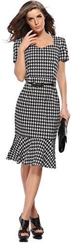 U-SHOT femmes de plaid à manches courtes élégant robe de demoiselle d'honneur soirée robe Sirène Noir 3