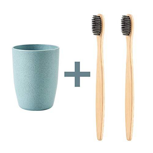 Hot. 2Umweltfreundlich biologisch abbaubar natur Bambus anthrazit Zahnbürste + 1Weizen Stroh Trinken Zahnputzbecher