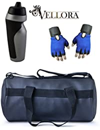 VELLORA Soft Leather Duffel Gym Bag (Black) With Penguin Sport Sipper, Gym Sipper Water Bottle Color Black Grey...