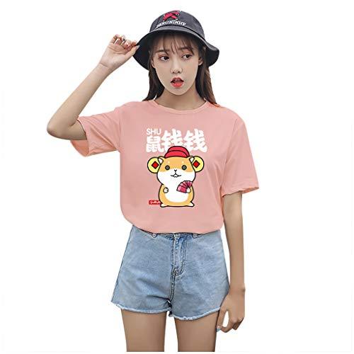 KIMODO Damen Mode Casual Kurzarm Women Oansatz Charakter Bluse T-Shirt Tops, Plus GrößE S-3Xl Freizeit Einfarbig Lose Women Pullover 2020 Neue Fashion Shirt (F-Hot Pink, XL)