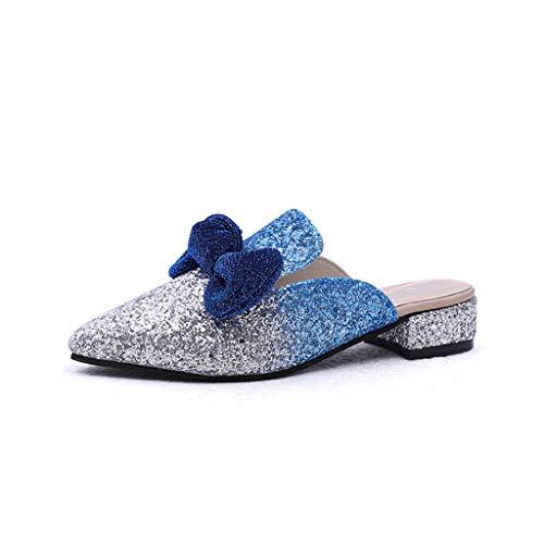 HRN Frauensandalen Kunstleder Baotou Rutschfeste niedrige Ferse halbe Hausschuhe super glänzende Stück Bogen einzelne Schuhe Sommer, ()
