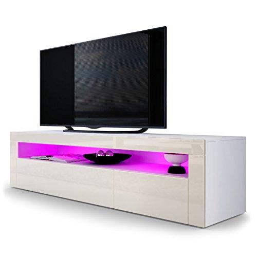 Vladon TV Board Lowboard Valencia, Korpus in Weiß Matt/Front in Creme Hochglanz mit Rahmen in Creme Hochglanz - Creme Sideboard