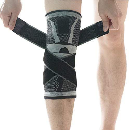 Kniebandage, u-pick Kompressions Kniebandage Sleeve mit rutschfesten Einstellbare Druck-Riemen, Knie Protector Sport Gelenk Patella Schmerzen Relief Verletzungen Rehabilitation - Single X-Large